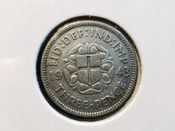 George VI, Silver (.500), Threepence 1943 (For Colonial Use), F, AD229